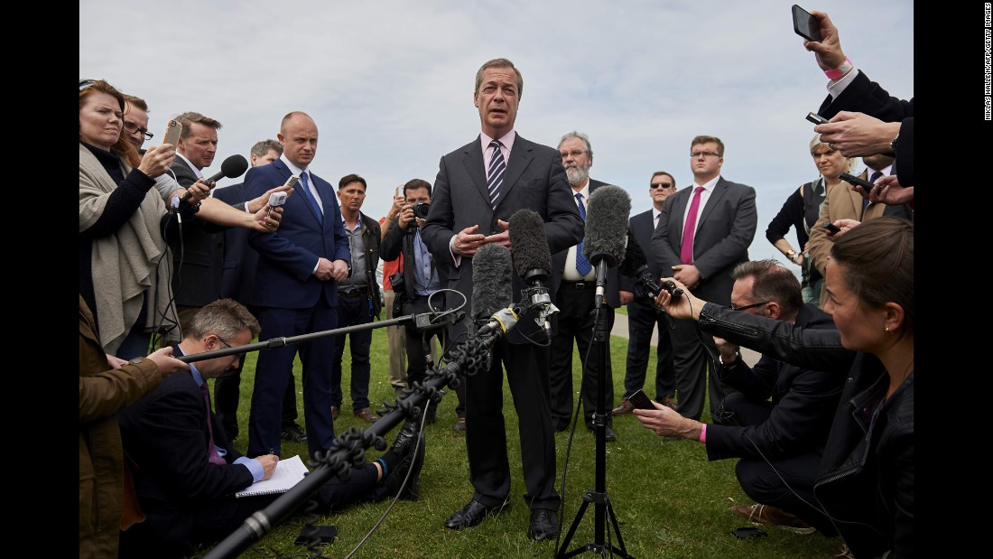 Nigel Farage, leader of the UK Independence Party, addresses the media in Margate, England, after he lost his parliamentary seat.