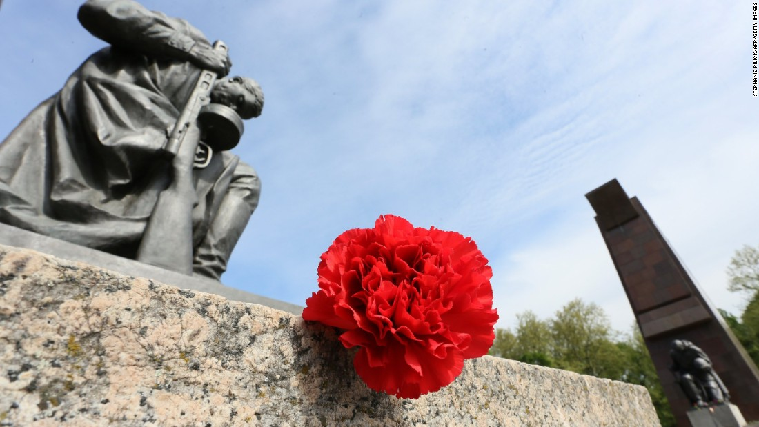 MAY 8 -- BERLIN, GERMANY: Flowers are laid down at the Soviet War Memorial at Treptower Park in Berlin to commemorate the end of the Second World War 70 years ago.