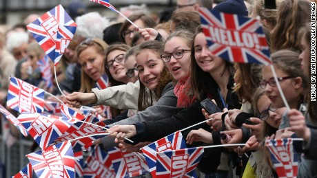 Spectators in London gather during a tribute at the Cenotaph to begin three days of national commemorations to mark the 70th anniversary of VE Day.