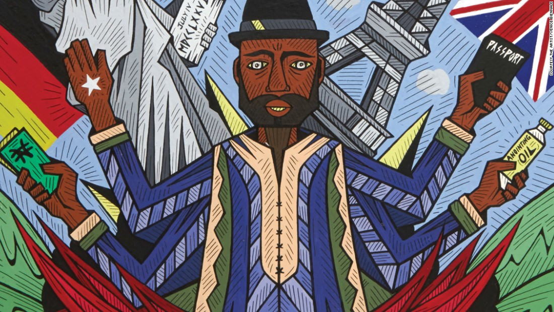 <em>Karo Akpokiere, Nigerian Visa Mystic Temple, 2013.</em> <br /><br />A 34-year-old artist born in Lagos Nigeria who uses the hustle and bustle of his hometown for creative inspiration.