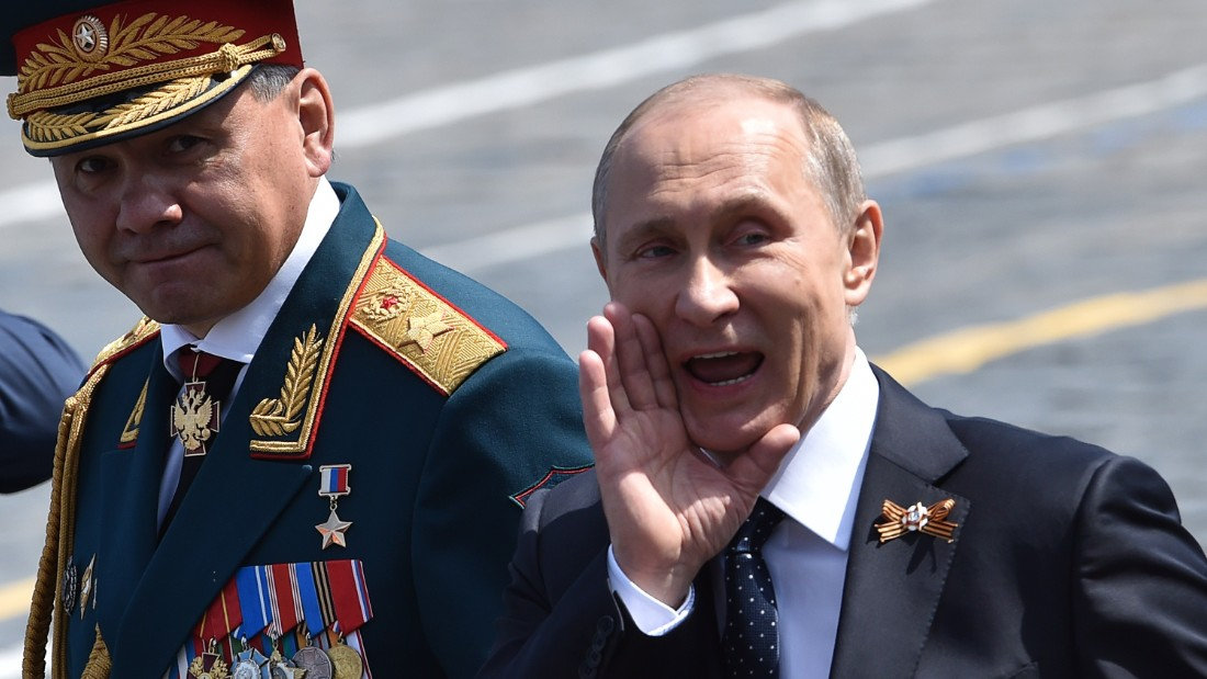 Russian President Vladimir Putin and Defence Minister Sergei Shoigu leave Red Square after the Victory Day parade.