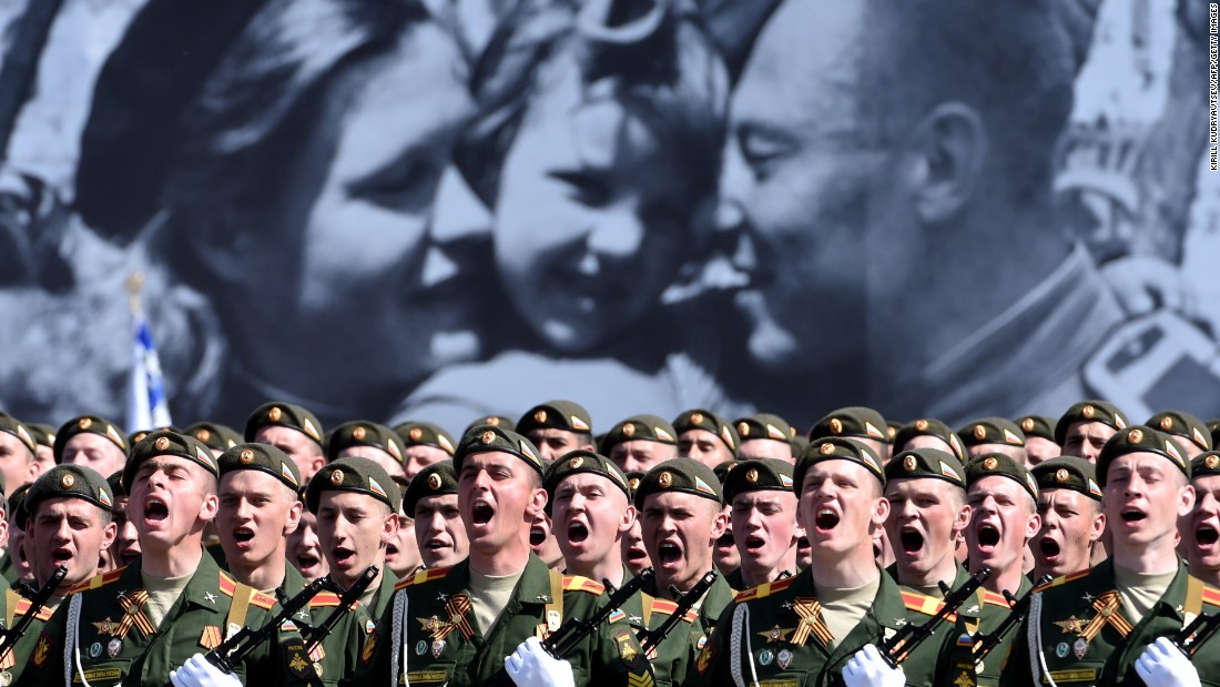 Russian soldiers march through Red Square during the 70th anniversary Victory Day military parade in Moscow on May 9. The Victory Day parade commemorates the end of World War II in Europe.