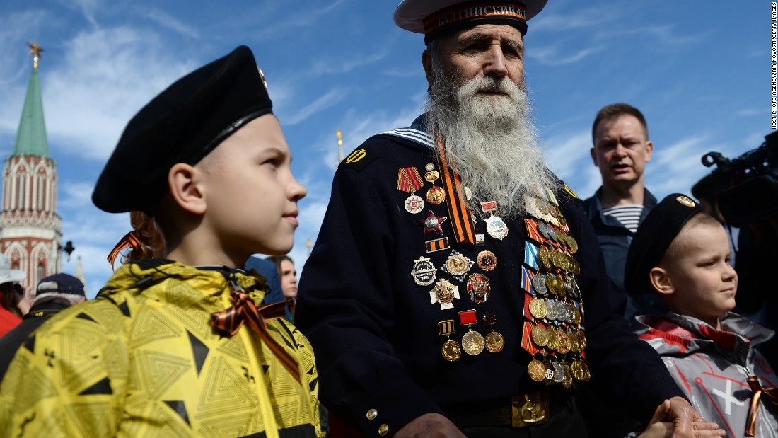 A veteran of World War II, which is known among states of the former Soviet Union as the Great Patriotic War, attends the Moscow parade May 9 marking the 70th anniversary of the defeat of Nazi Germany.