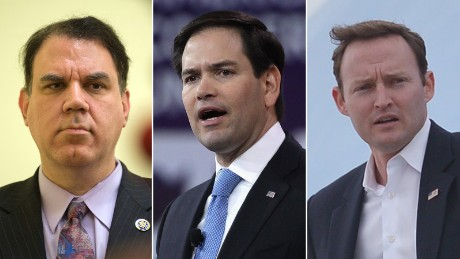 Rep. Alan Grayson, left, Sen. Marco Rubio, center and Rep. Patrick Murphy are pictured in this composite photo.