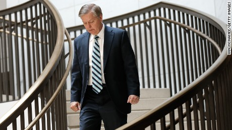Sen. Lindsey Graham (R-SC) arrives for a Senate Armed Services Committee closed briefing July 30, 2014 in Washington, D.C.