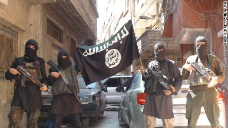 "A photo posted on internet on April 7, 2015 shows ISIS or Daesh (Daech) or ""Islamic State"" group militants posing in Yarmouk (Yarmuk) Palestinian camp, located in a suburb of Damascus, Syria, that is partially now under their control."