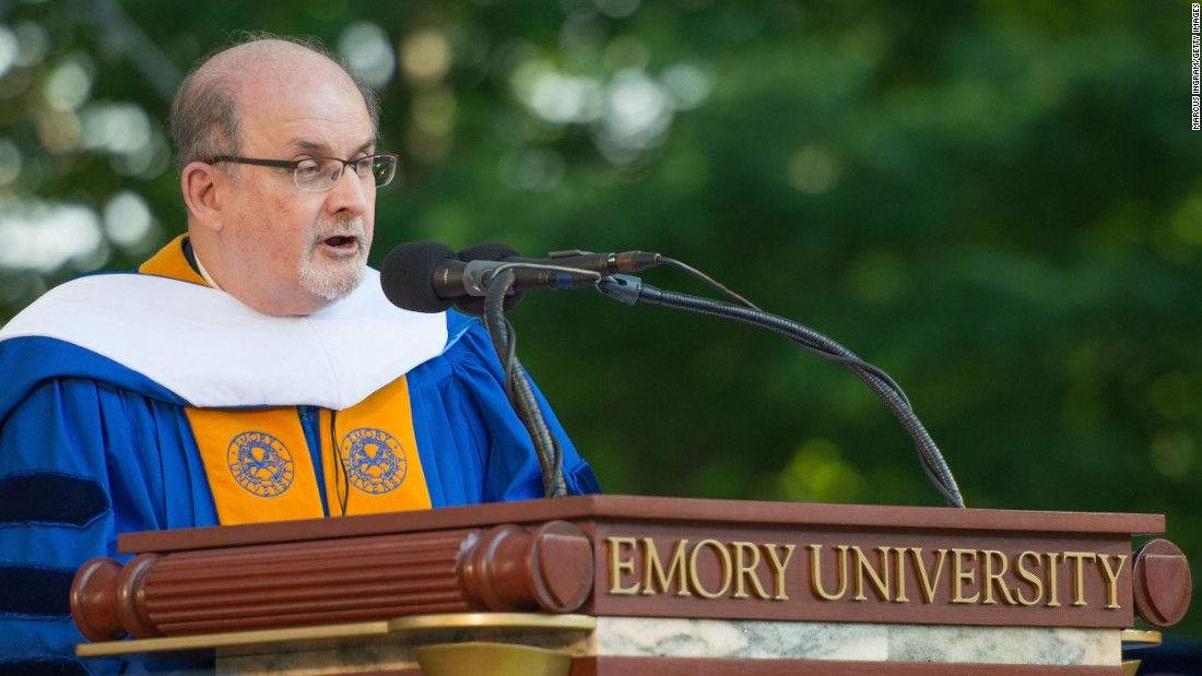 Author and human rights advocate Salman Rushdie spoke at Emory University's commencement in Atlanta on May 11.