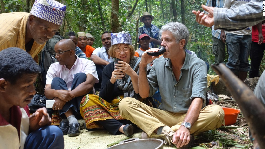 Heading south from Tana, Anthony Bourdain meets up with Patricia C. Wright. Here, 40,000 hectares of forest have been set aside and protected from slash-and-burn agriculture for the creation of Ranomafana National Park.