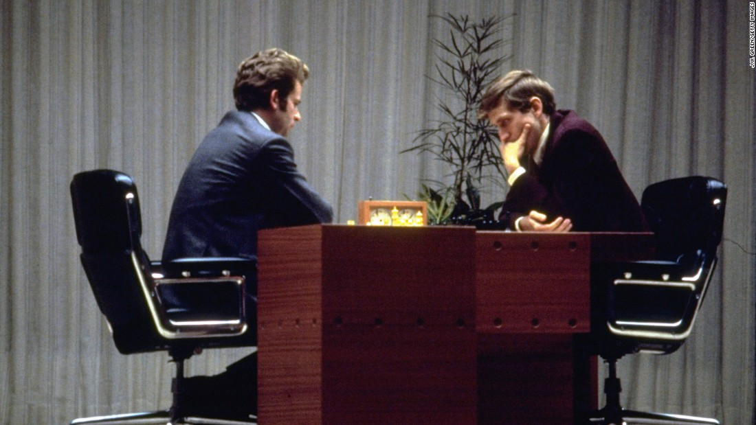 American Bobby Fischer, right, and Russian Boris Spassky play their last game of chess together in Reykjavik, Iceland, on August 31, 1972. Fischer defeated Spassky to become the World Chess Champion, ending a Soviet win streak that dated to 1948.