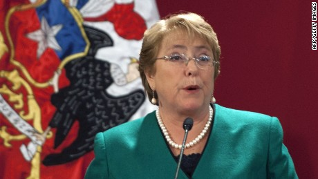 Chilean President Michelle Bachelet speaks during the presentation of the new Cabinet at La Moneda presidential palace in Santiago on May 11, 2015. AFP PHOTO/VLADIMIR RODASVLADIMIR RODAS/AFP/Getty Images