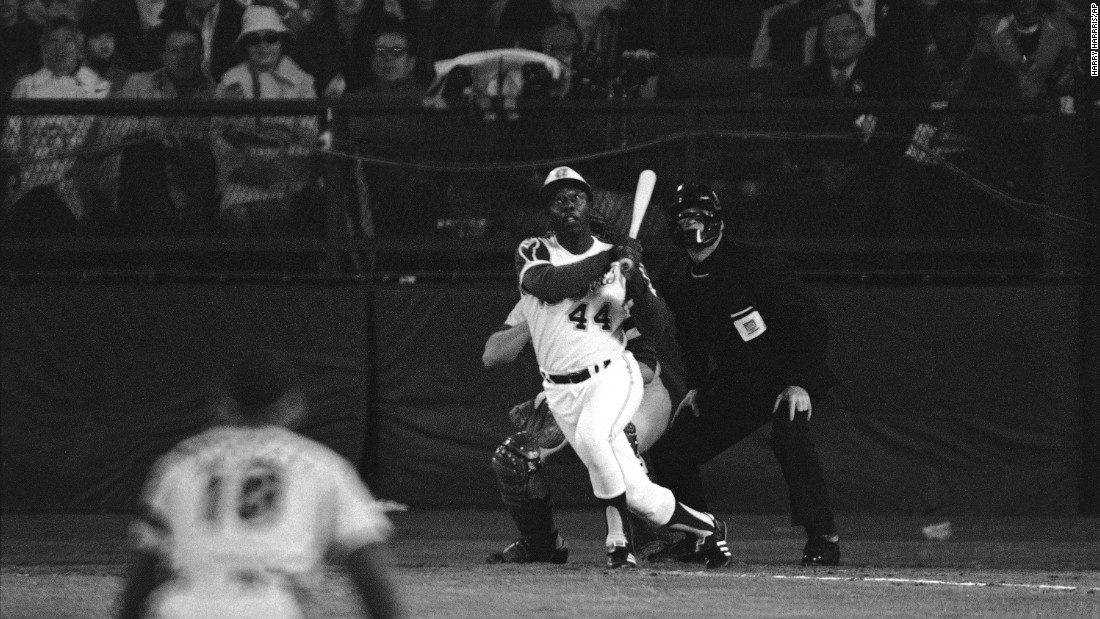 Hank Aaron breaks Babe Ruth's career home run record, hitting home run No. 715 at Atlanta's Fulton County Stadium in April 1974. Aaron finished his career with 755 home runs, a record that stood until Barry Bonds broke it in 2007.