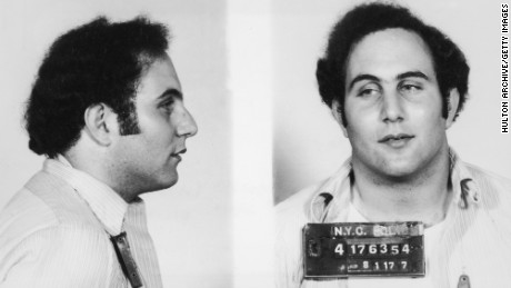 Police mug shot showing the front view and profile of convicted New York City serial killer David Berkowitz, known as the 'Son of Sam.'