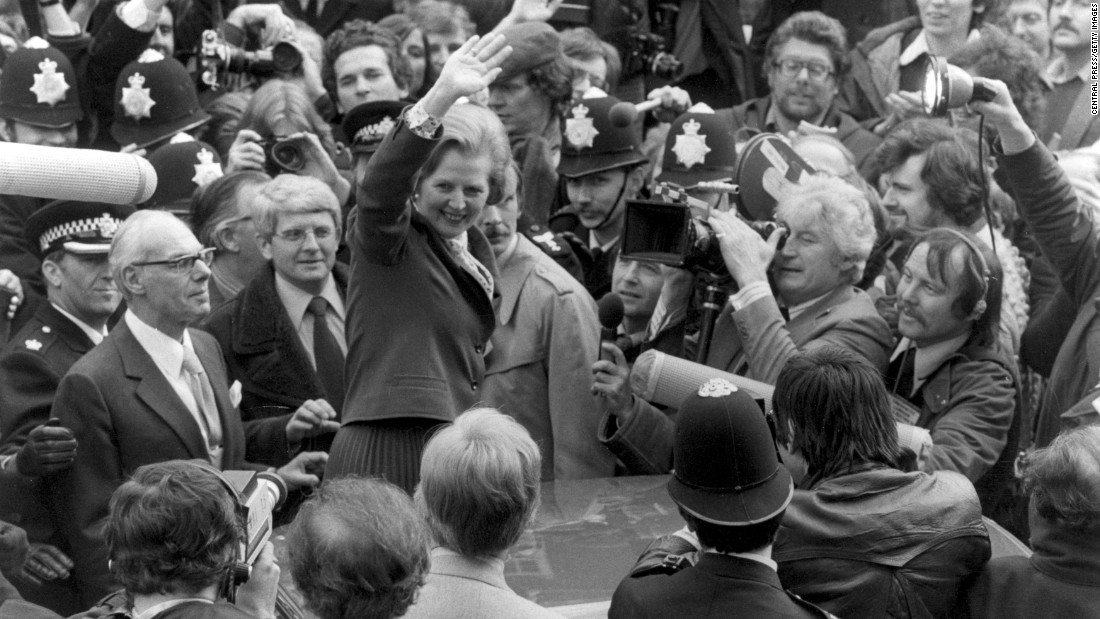 Margaret Thatcher celebrates her first election victory, becoming Britain's first female Prime Minister on May 4, 1979. As leader of the Conservative Party, Thatcher served three terms as Prime Minister, holding the office until 1990. That made her the longest-serving British Prime Minister of the 20th century.