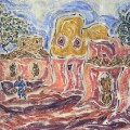 Inji Effaltoun, Village. Oil on canvas, 35 x 27 cm