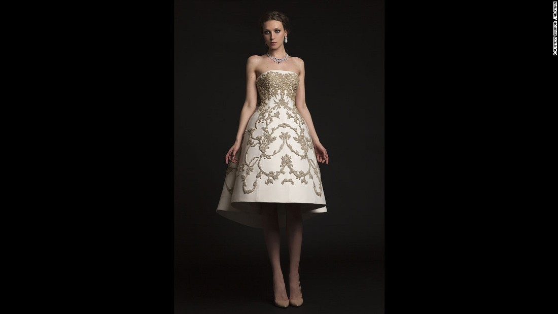Jabotian's wedding gowns start at $25,000 and are hand sewn, embroidered and pearled down to the last detail.