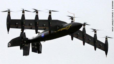 The GL-10 prototype takes off in hover mode like a helicopter.
