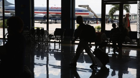 A charger jet, operated by American Airlines, is parked on the tarmac at Jose Marti International Airport after flying directly from Miami January 19, 2015 in Havana, Cuba.
