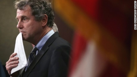 U.S. Sen. Sherrod Brown (D-OH) pauses during a news conference on currency and trade February 10, 2015 on Capitol Hill in Washington, D.C.