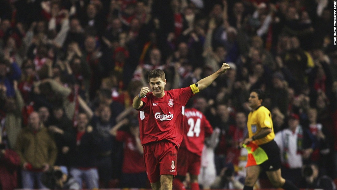 With less than five minutes left to play and needing one more goal to avoid Champions League elimination at the hands of Olympiakos, Gerrard -- in front of the Kop end -- ran onto Neil Mellor's header and hit the ball on the half volley, sending it arrowing into the bottom corner. The goal sparked scenes of delirium at Anfield and ensured Liverpool progressed out of the group stages.
