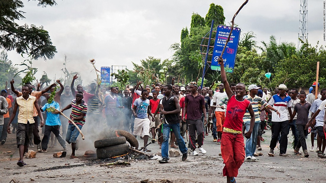 Demonstrators take part in a protest in Bujumbura on May 13.