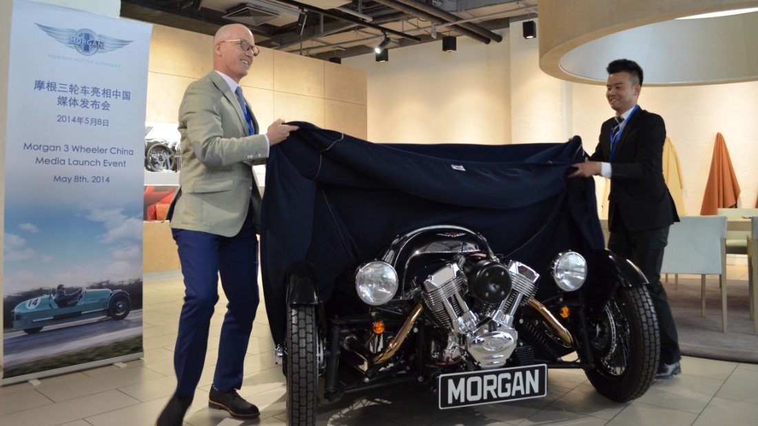 Morgan's profits are growing fastest outside of Europe, so Asia and Latin America are being targeted for growth. Pictured, the launch of Morgan's three wheeler in China, in 2014.
