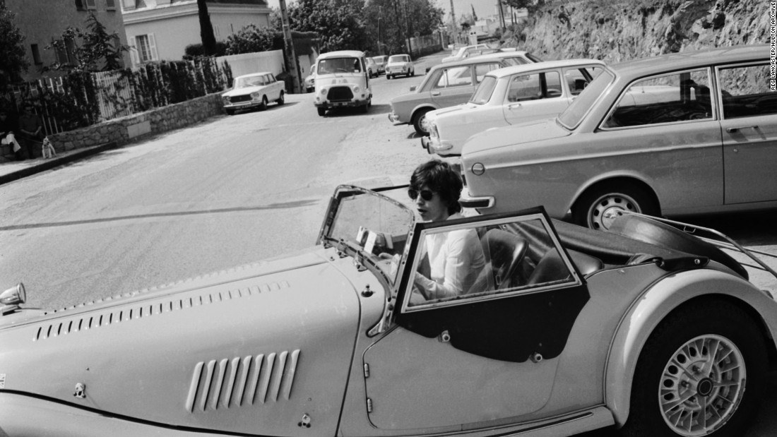 Rolling Stone Mick Jagger in his classic Morgan Plus 8, in 1971.