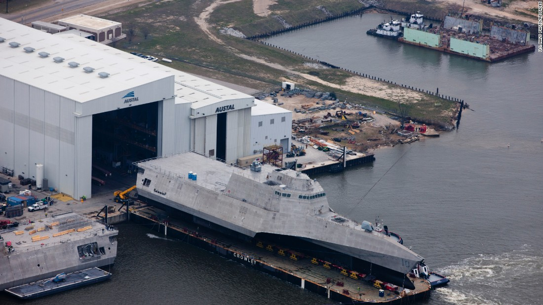 An aerial view of the future littoral combat ship USS Gabrielle Giffords (LCS 10), an Independence variant during its launch sequence in February 2015 at the Austal USA shipyard. The Navy has plans for 20 littoral combat ships.