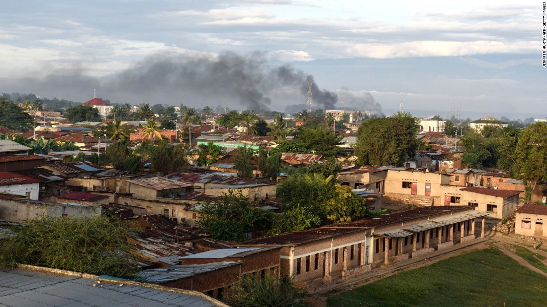 Smoke rises from several buildings near the port in Bujumbura on May 14.