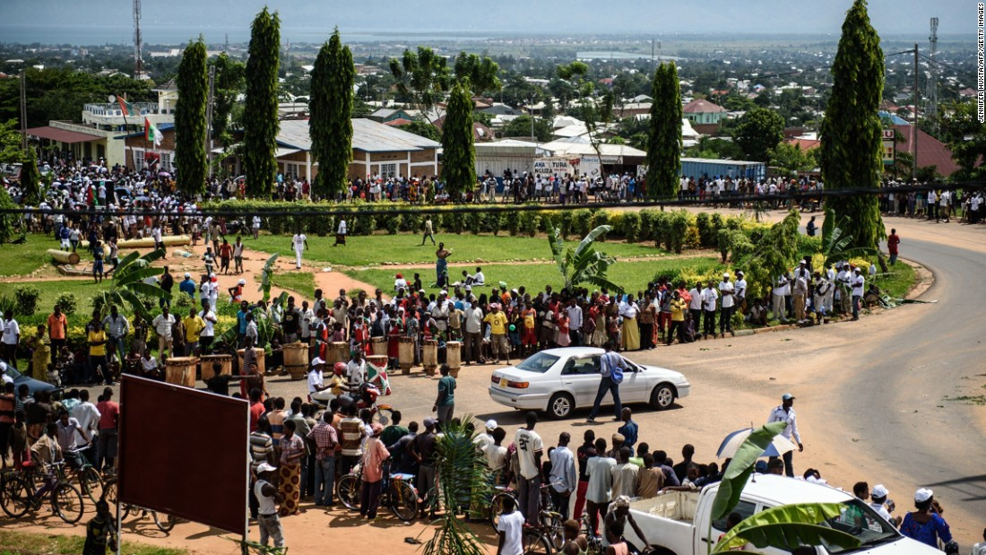 People line the streets as they celebrate the return of Nkurunziza on May 15. Burundian authorities said they arrested the military generals behind the attempted coup shortly after the President returned to the country.