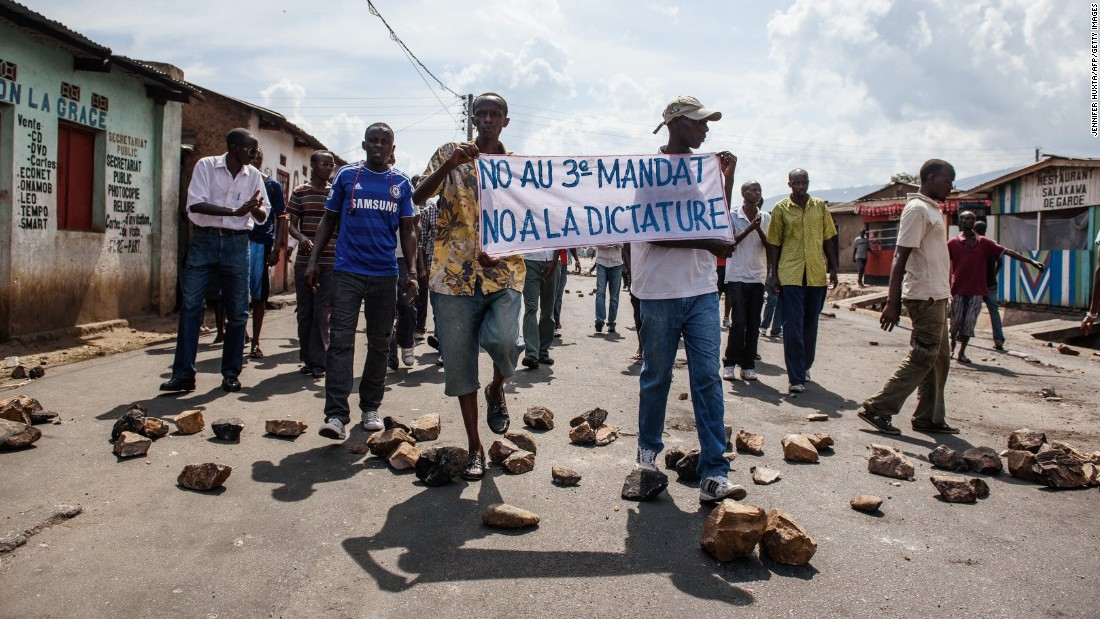 "People in Bujumbura demonstrate against Nkurunziza on Saturday, May 16. A <a href=""http://edition.cnn.com/2015/05/15/africa/burundi-coup-leaders-arrested/index.html"" target=""_blank"">coup attempt</a> in the central African nation failed earlier in the week."