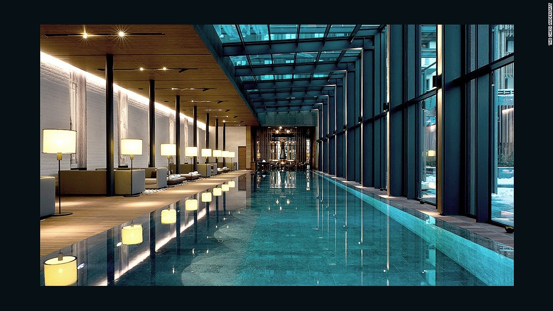 This spa has a 100-foot indoor pool with a glass roof and state-of-the-art hydrotherapy zone with Finnish saunas, hot and cold plunge pools and salt steam baths.
