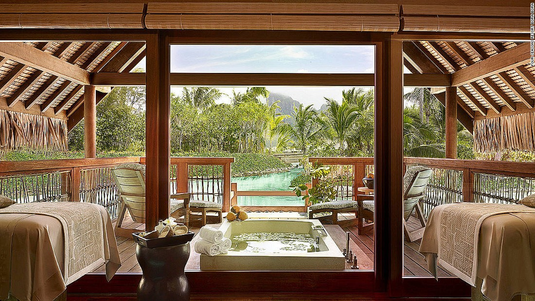 While most treatments can be performed in guest bungalows, the spa's spacious Kahaia suite -- with its outdoor terrace, soaking bath and views over Mount Otemanu -- is hard to beat.