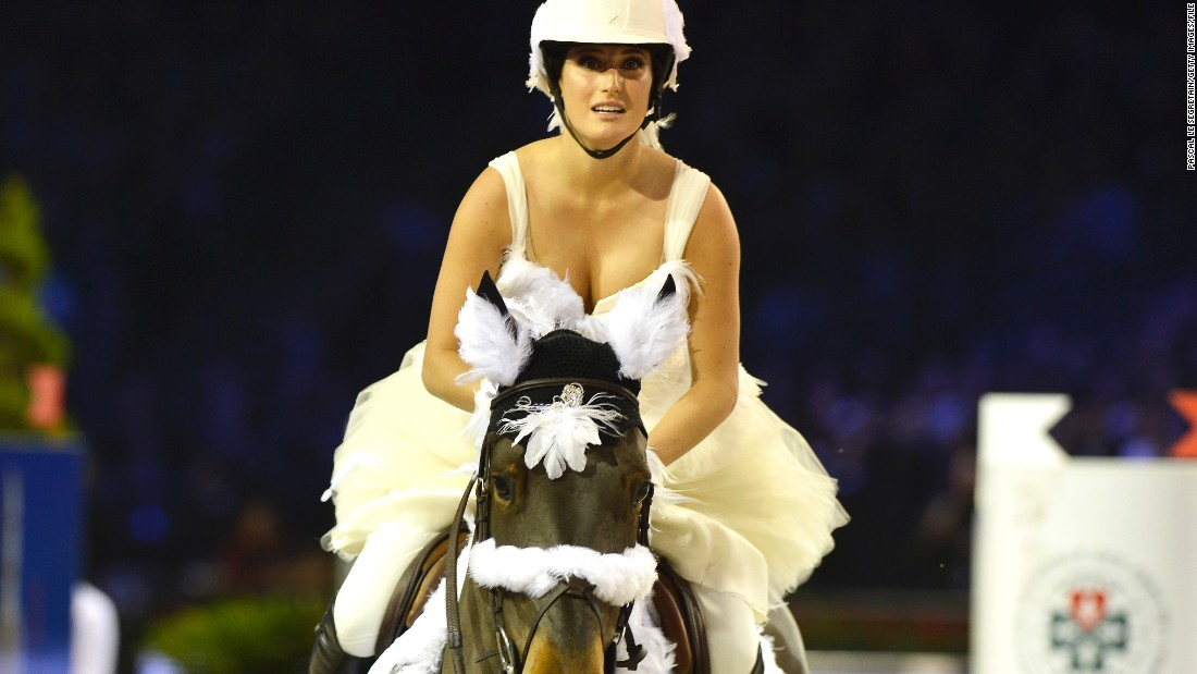 Springsteen's profile has been raised since becoming a brand ambassador for fashion house Gucci -- here she rides Wotsamillion in a charity event at the 2013 Paris Masters.