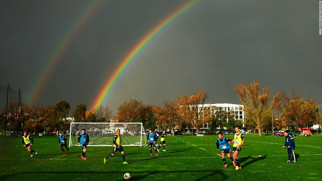 "A double rainbow forms over a training session for the Melbourne Victory soccer club on Tuesday, May 12. <a href=""http://www.cnn.com/2015/05/12/sport/gallery/sports-what-a-shot-0512/index.html"" target=""_blank"">See 42 amazing sports photos from last week</a>"