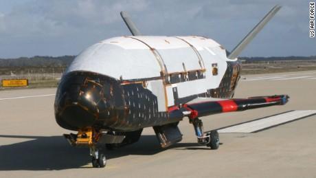 A U.S. Air Force X-37B Orbital Test Vehicle taxis at Vandenberg Air Force Base, California, in June 2009.