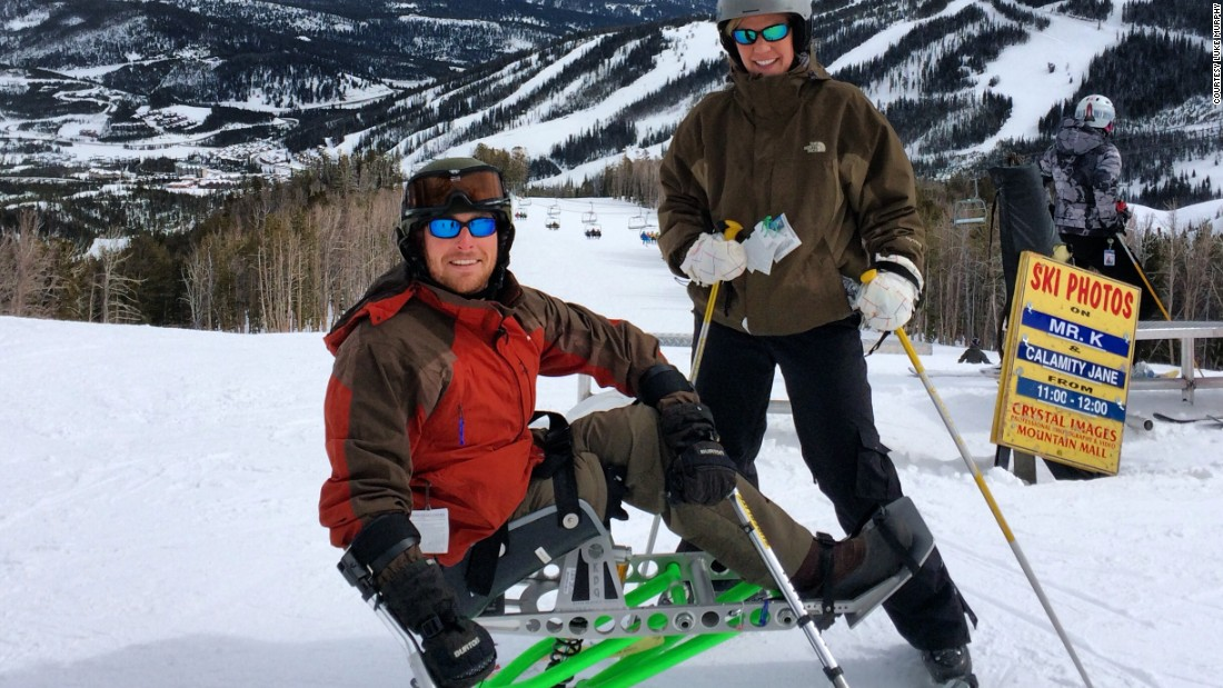 After undergoing rehabilitation, Murphy learned to ski with the use of special equipment.
