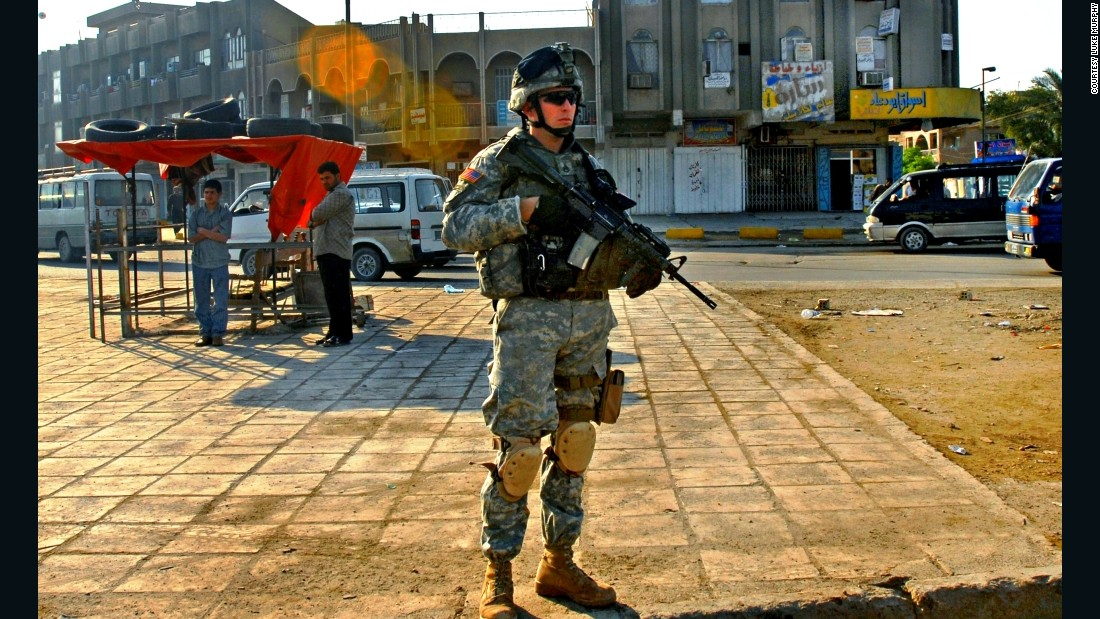 Murphy patrols the Sadr City area of Baghdad, Iraq, in an undated photo.