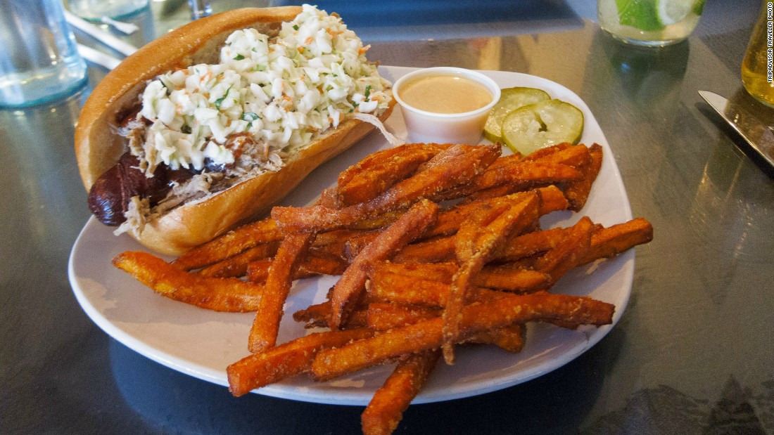 No. 7-ranked HogsHead Cafe offers barbecue classics as well as a bold deep fried bacon-wrapped hot dog topped with pulled pork and coleslaw.