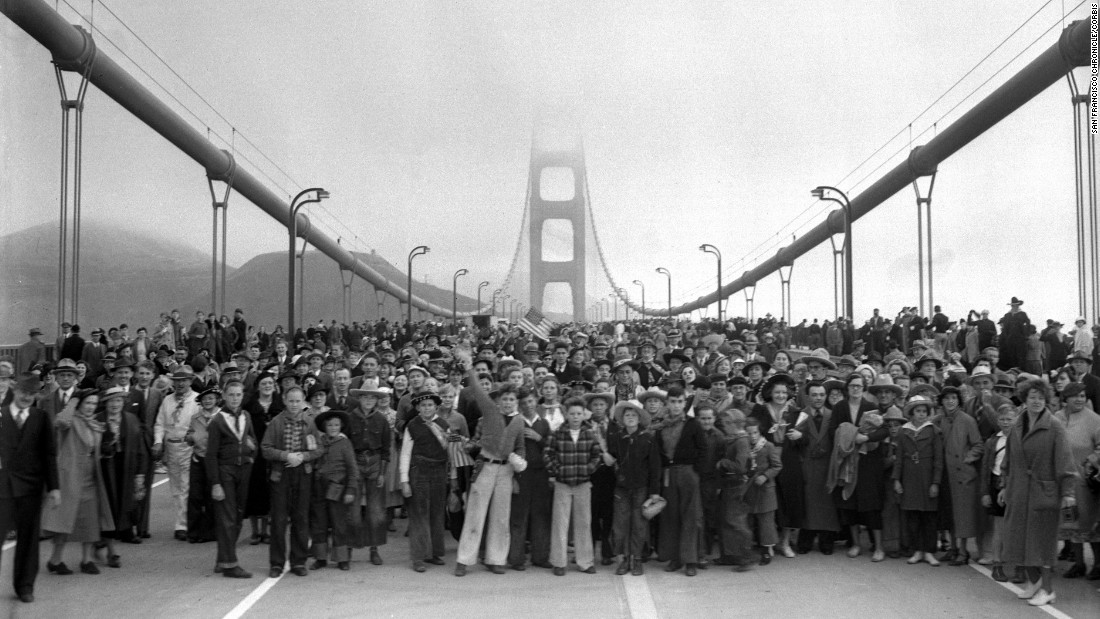 The Golden Gate Bridge, which spans the San Francisco Bay and connects the city to its northern suburbs, is one of the world's most famous structures. Its construction 78 years ago over a deep, treacherous channel was a marvel of modern engineering. In this photo, pedestrians walk across the bridge on May 27, 1937 -- one day before it opened to vehicular traffic. Click through to see other photos of the bridge's construction and grand opening.
