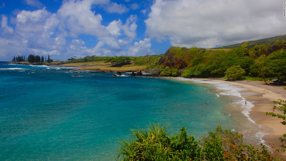 """<strong>4. Hamoa Beach, Maui, Hawaii.</strong><br />Take it slow, Hawaiian style, on the way to <a href=""""http://hamoabeach.org/"""" target=""""_blank"""">this Hana beach</a>, which is inside a breached volcanic crater. The """"Road to Hana"""" is known to be dangerous unless you drive slowly over the one-way bridges and stay clear of 1,000-foot drop-offs. And when you get there, there's the possibility of large surf, strong currents outside the bay and no lifeguard on duty. (There are restrooms and showers.)"""
