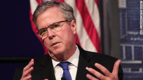 Former Florida Governor Jeb Bush speaks at the Detroit Economic Club February 4, 2015 in Detroit, Michigan. Bush, the son of former republican President George H.W. Bush and the brother of former republican President George W. Bush, is considering becoming a republican candidate for the 2016 presidential election.