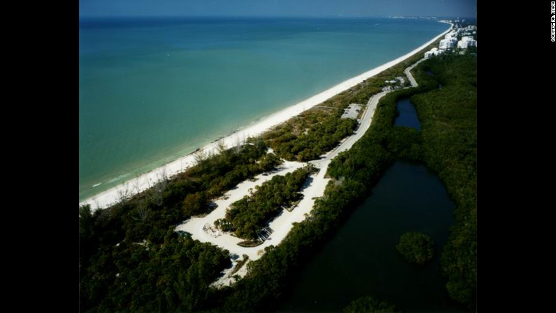 "<strong>2. Barefoot Beach Preserve County Park, Bonita Springs, Florida. </strong>Between Fort Myers and Naples on Florida's Gulf Coast,<a href=""http://www.colliergov.net/Index.aspx?page=455#preserve"" target=""_blank""> this 8,200-foot-long beach</a> is tucked into a 342-acre preserve.  The shallow waters, gentle surf and seashells make it ideal for families with young children. The habitat also hosts sea turtle nesting sites during the summer. The protected gopher tortoise also calls the preserve home."