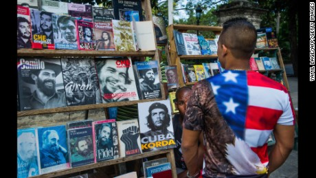 A man looks at a magazine stand in Havana on January 16.