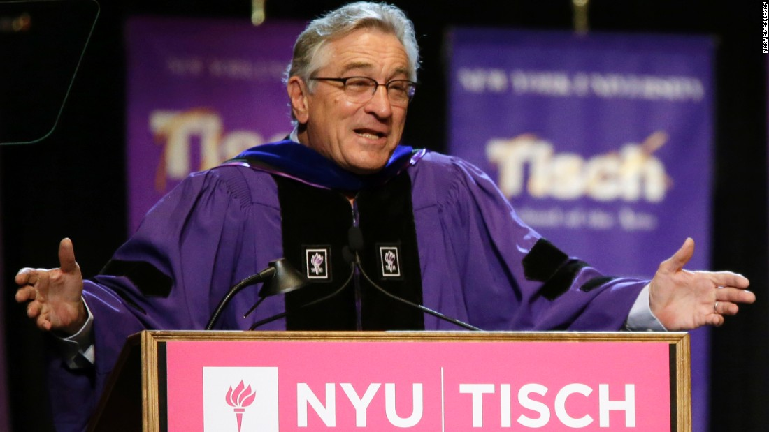 "Actor Robert De Niro addressed the class of 2015 during  New York University's Tisch School of the Arts commencement  ceremony on May 22, 2015. De Niro, who quit high school to pursue an acting career, told grads: ""You made it — and, you're f—ed."" Click through to see more big-name speakers at universities across the country."