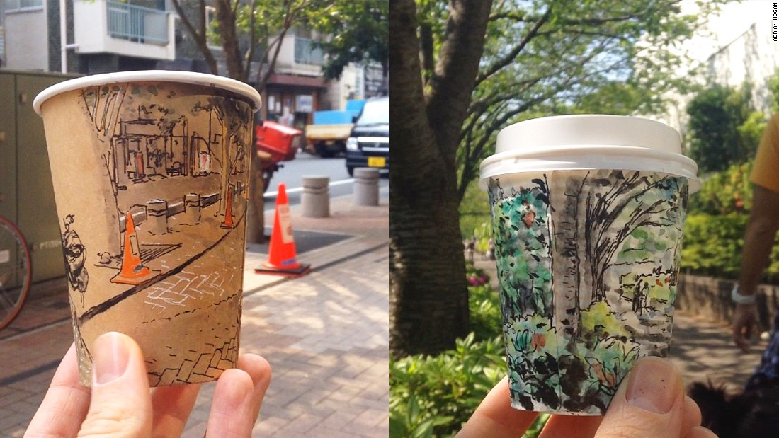 Tokyo-based illustrator Adrian Hogan's sketches of Japanese street scenes on the sides of disposal coffee cups have become an Internet sensation. His popularity surged when he began posting Instagram videos (see below) of his coffee art. They show him rotating an illustrated cup to match the view in the background.
