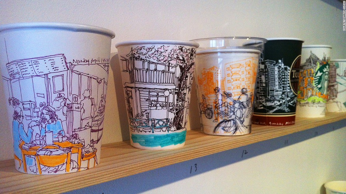 "Hogan credits the idea to his illustrator friend Mariya Suzuki, who held an exhibition called ""Coffee People,"" documenting cafe life. She invited other artists to draw on coffee cups for the show."