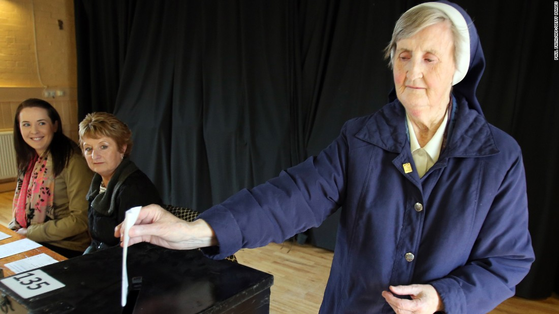 Sister Loreto Ryan of the Sisters of Charity casts her vote in Drumcondra, north Dublin on May 22. The same-sex marriage referendum was seen by many as a test of whether Ireland, a majority Catholic nation, would break from tradition.