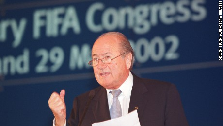 405945 06: Federation Internationale de Football Association (FIFA) President Sepp Blatter speaks with FIFA members after winning a second four-year term as FIFA president during the 53rd Ordinary FIFA Congress at the Hilton May 29, 2002 in Seoul, South Korea. Blatter received 139 votes to beat African soccer chief Issa Hayatou who received 56 votes. (Photo by Chung Sung-Jun/Getty Images)