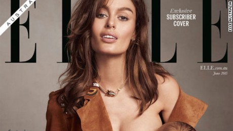 ELLE Australia cover shows model breastfeeding