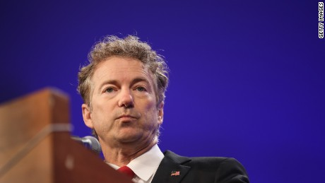 Kentucky Republican Sen. Rand Paul speaks to guests gathered for the Republican Party of Iowa's Lincoln Dinner at the Iowa Events Center on May 16, 2015 in Des Moines, Iowa.
